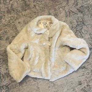 Girls Monsoon bow faux fur jacket 7-8